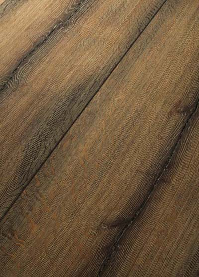 124 Oak handscraped - brushed, lyed, brown patinated and oiled